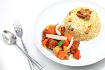 Fried rice and Fried sweet and sour sauce