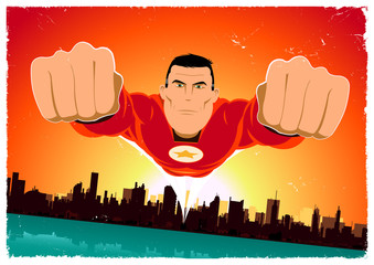 Printed roller blinds Superheroes It's A Bird ! - Flying Super Hero