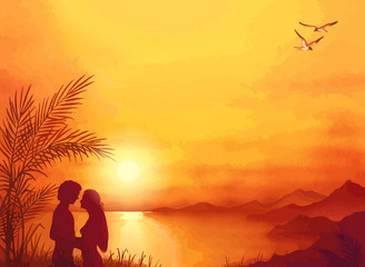 Summer love silhouette on background with sunset