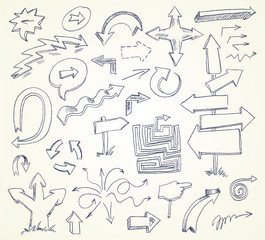 Arrow Doodles. Hand-drawn. Vector illustration