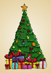 Christmas tree vector art with present boxes