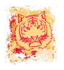 Abstracted grunge Tiger illustration