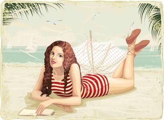 Retro card with girl at a beach