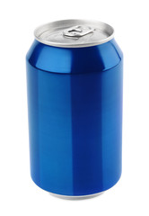 Blue aluminum can isolated on white with clipping path