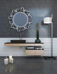Modern Style Grey Bathroom at Night