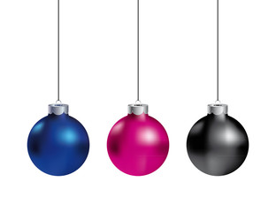 Realistic vector christmas balls on white background