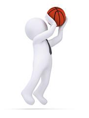 3d white human ready to throw a basketball