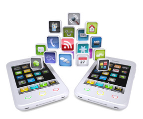 Two white smartphone share applications