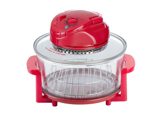 Empty red electric convection oven