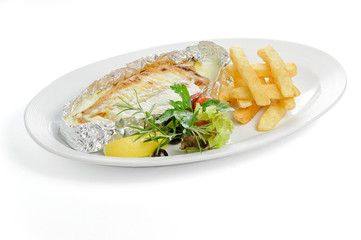 French fries and fish in foil