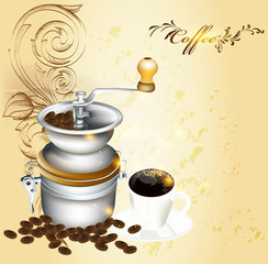 Background with coffee mill, grains and cup of hot coffee in vin