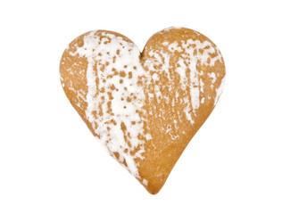 heart shape xmas spice cake isolated