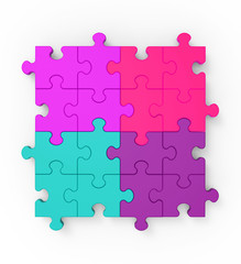 Multicolored Puzzle Square Shows Completion