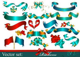 Collection of vector ribbons and bows