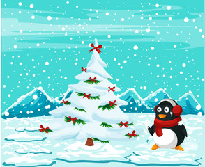cute penguin with christmas tree