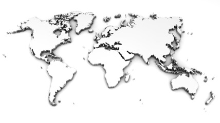 Aluminium Prints World Map detailed world map