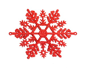 Red snowflake isolated on white background