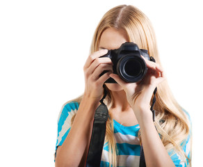 Creative woman photographer takes photos