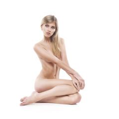 beautiful nude woman on white background