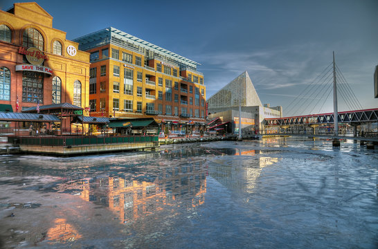 Icey Inner Harbor Baltimore