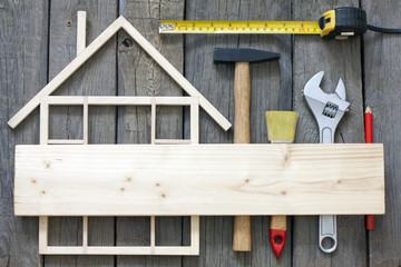 Wooden home construction renovation and tools  background