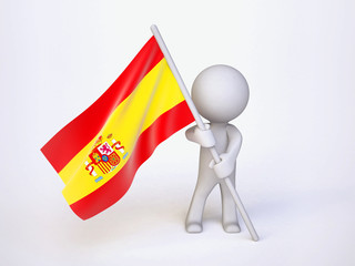 Man with Flag of Spain
