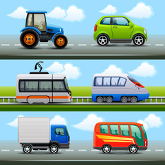 transport icons on the road