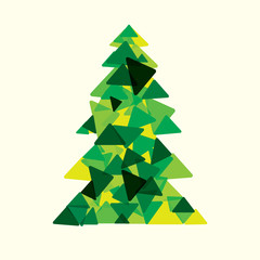 green triangle merry Christmas tree