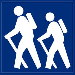 Papier Peint - Schild blau - Wandern