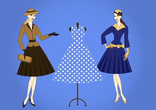 elegant women in retro style
