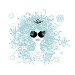 Poster Visage de femme Stylized woman hairstyle with snowflake. Winter concept