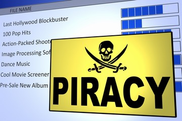 Computer generated image of a computer piracy alert