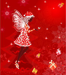 Wall Mural - Christmas fairy for your design