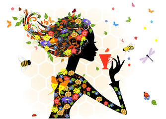 Poster Floral woman girl fashion flowers