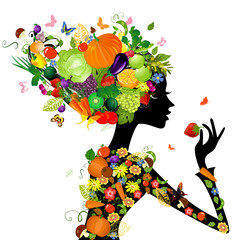 Fotobehang Bloemen vrouw Fashion girl with hair from fruits for your design