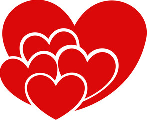 Red hearts love