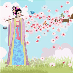 Printed roller blinds Floral woman Beautiful Oriental girl near cherry blossoms