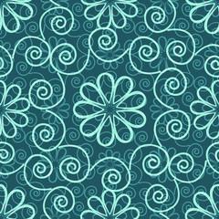 Seamless blue ornamental decorative pattern
