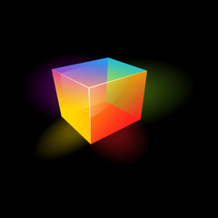 Colored glass cube
