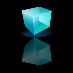 Blue glass cube on a smooth surface
