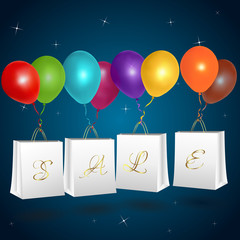 Sale shopping bags with balloons