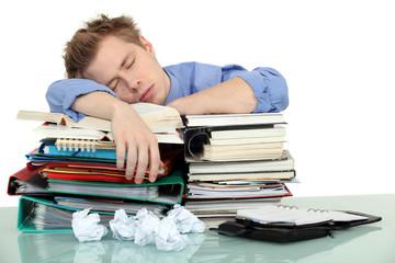 Overworked office worker