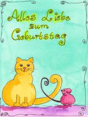 Lustige Aquarell Geburtstagskarte