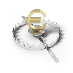 Finance risk concept. Sign euro on bear trap.