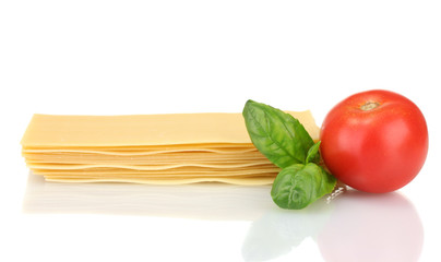 Uncooked lasagna pasta isolated on white