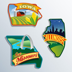 United States Illinois Missouri Iowa illustrations designs