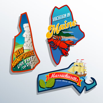 United States Maine Massachusetts New Hampshire sticker designs