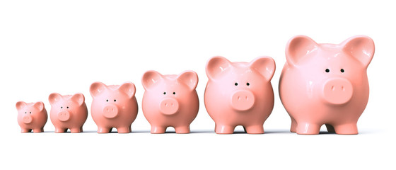 Piggy bank starting from small to big - front view