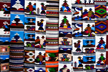 Tapestry in the market of Otavalo