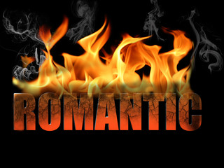 Word Romantic in Fire Text